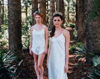 Knee Length Satin Bridal Slip | Satin Bridal Slip | Bridal Full Lace Robe Slip| Wedding Slip Nightdress