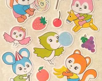 Cute rabbit sticker,bird sticker,bear sticker,squirre stikcer,Japanese sticker for scrapbooking,planner,journal,card making