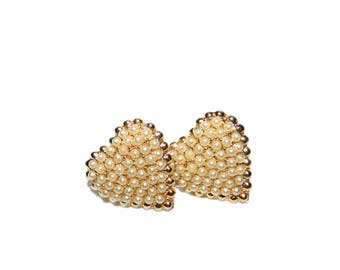 Vintage Heart Shaped Miniature Pearl Beaded Gold Toned Screw Back Earrings