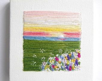 Spring Flowers | Wall Art | Home Decor | Modern Embroidery | Nursery Wall Art | Gift Idea  | Minimalism | Tiny Art | Hand Embroidery Canvas