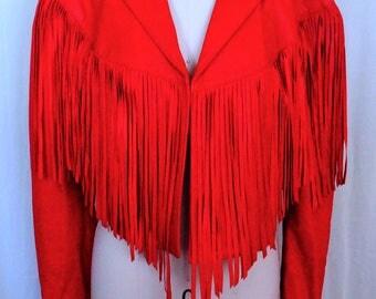 Vintage Red Fringe LeatherJacket