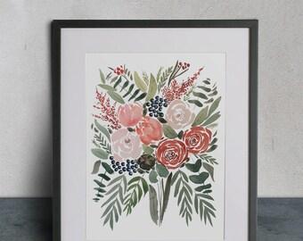 Custom Bouquet Watercolor Painting -  Original Bouquet Watercolor