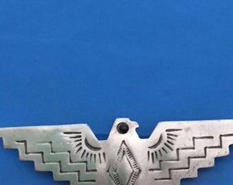 Vintage JJ 1988 Silver Tone Etched Eagle Brooch
