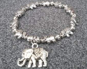 Bracelet with charms, elephant charm bracelet, women's jewelry, stretch bracelet, adorable gift