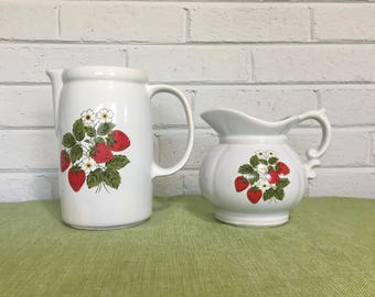Set of 2 Vintage McCoy Strawberry Pitchers