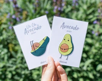 Avocado Value Pack - two avocado stickers  - vegie decor - waterproof & removable