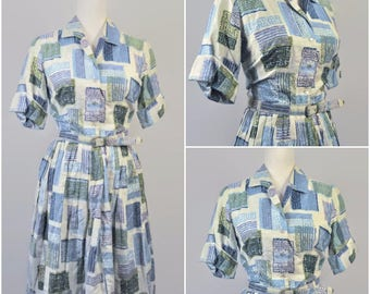 Vintage 1950s Henry Allen Abstract Print Pleated Cotton Button Up Collar Cuff Sleeve Day Dress Matching Thin Belt