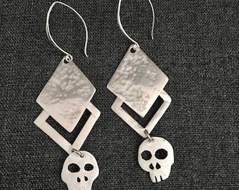 Gothic Inspired Skull Sterling Silver Drop Earrings