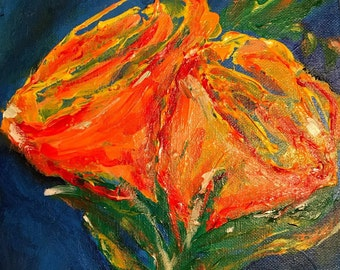 Bright tulips in full bloom, in vase, on blue: Original Acrylic