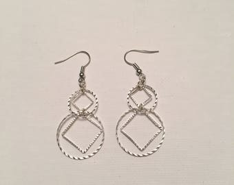 Diamonds and Circles Drop Earrings