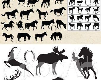 Horse, Deer, Moose, Donkey Vector Digital Cut Files Svg Dfx Eps Png Silhouette SCAL Cricut Printable Download Paper Vinyl Die Cutting JB-017