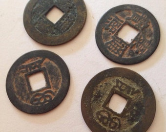 Rare Ch'ing Dynasty coins - great for pendents or fashion buttons