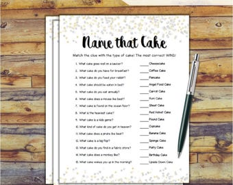 Name that Cake Bridal Shower Game / Confetti Printable Wedding Shower Game / Bachelorette Party / Hen Party Game / DIY Wedding Games CX78