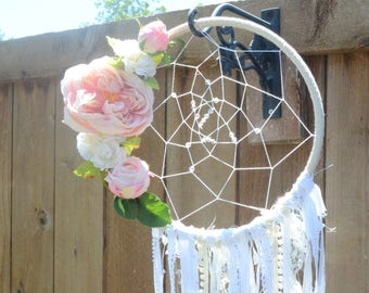 Pink Flower Dream Catcher