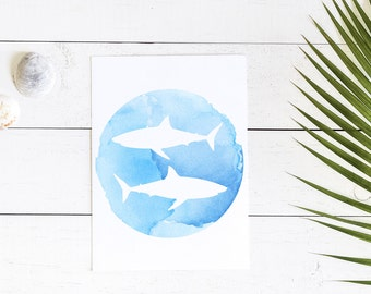 Shark Watercolor, Shark Wall Decor, Shark Wall Art, Blue Watercolor Print, Blue Watercolor Art, Shark Week, Shark Printable, Underwater Art