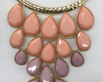 Gold necklace with colorful stones