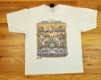 Vintage 90s Denver Broncos John Elway Super Bowl Champions Pro Player T shirt Size XL