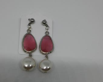 Earrings with pearl disc and Crystal Rose steel pin