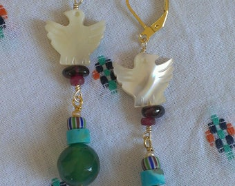 Green agate and Pearl, turquoise bird earrings