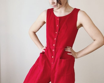 Red Corduroy Jumpsuit