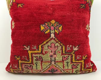 Large Vintage Turkish Rug Pillow Cover