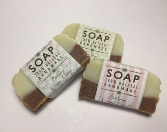 Set of 3 soaps with olive oil and cocoa and Green Clay. Natural homemade