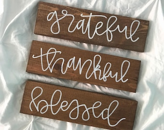 grateful thankful blessed-thankful sign-fall farmhouse sign-rustic wood sign-fall sign-farmhouse decor-grateful sign-blessed sign