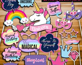 Unicorn party, Unicorn photo booth props, Unicorn props, Unicorn invitation, girl birthday party, party decors, INSTANT DOWNLOAD