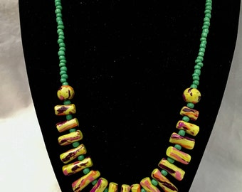 Polymer Lime Tropical Cylinder Beaded Necklace