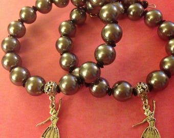 Two Glass bead memory wire bracelet