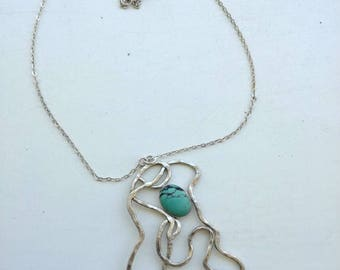 Unique necklaces , Unique Turquoise necklace,  Art silver necklace, Modern necklace, Art Turquoise pendant necklace,