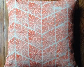 Orange Handmade Block Printed Pillow with Feather Insert 18X18