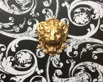 Large/Gilt Brass Lion Head/French Vintage Stamping/Leo Decorative Accent/Pendant/