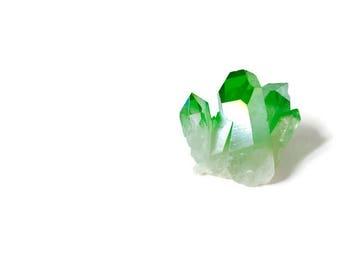 SALE Tiny Green Angel Aura Quartz Crystal Cluster