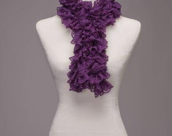 Purple Lace Ruffle Scarf
