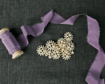 Lavender Silk Ribbon; 100% Silk; purple Wedding bridal bouquet, invitations, favors, wedding photography styling