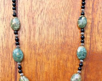 Landscape Jasper and Black Onyx Necklace