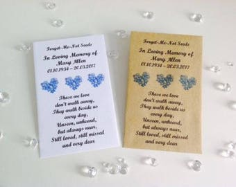 10 Personalised Forget Me Not Seed Favours Funeral Memorial In Loving Memory To Celebrate the Life of Remembrance Service