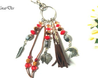 Keychain Boho/Ethnic - Feather/Eagle/Indian Chief - Tribal Pendant - Brown Leather Tassel - Bird Pendant - Fashion Keychain - Gift For Her