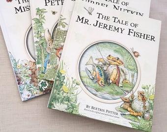 Set of 4 Beatrix Potter Books - Vintage childrens room decor baby nursery - hardcover classic books - peter rabbit jeremy fisher #0618