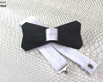 Bowtie DELTA black grey white and white or black - 3D printed and sewn hand