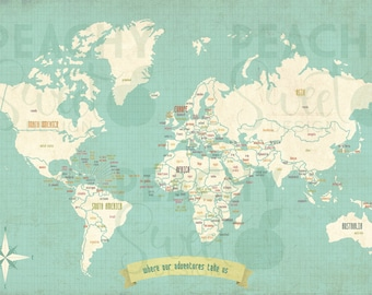 World Map Travel Map Wall Art Home Decor Rustic Vintage Wedding gift