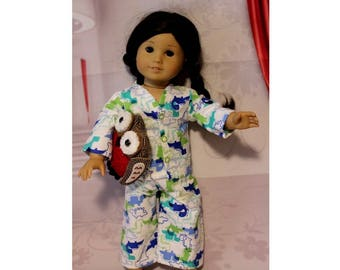 "Dinosaur Flannel Pajamas with Snaps & Stuffed Owl for 18"" Boy / Girl Dolls. (Clothes only, American Girl Doll wearing Pajamas not included)"