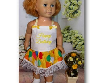 "Happy Birthday, Party Balloons, Chatty Cathy sized Clothes. Top & Skirt for dolls the size of 20"" tall vintage Chatty Cathy dolls."