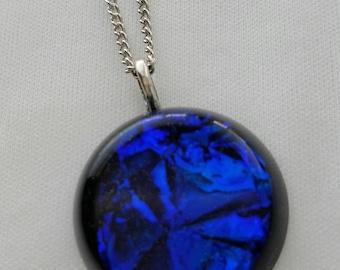 Deep Blue Faux Dichroic Pendant
