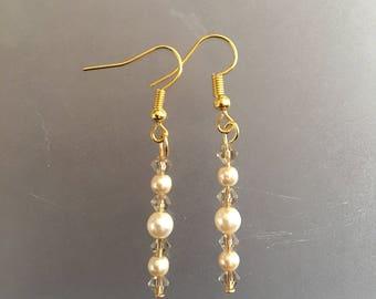 Creamrose Pearl and Smoked Quartz crystal bead dangle earrings