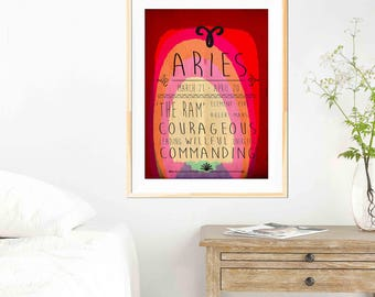 Aries - Zodiac Star Sign Typography Print - Colourful - Birthday - Starsigns - Birthdate - Astrology - Horoscopes - Star-signs