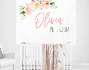 Personalized Nursery Wall Tapestry, Floral Nursery Wall Art, Nursery Banner Fabric, Blush Nursery Decor, Custom Name Art, Nursery Gift Girl