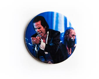 Warren Ellis and Nick Cave and The Bad Seeds live concert photography 2 1/4 inch photo pin back button