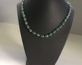 Blue Swarovski and Silver Beaded Necklace